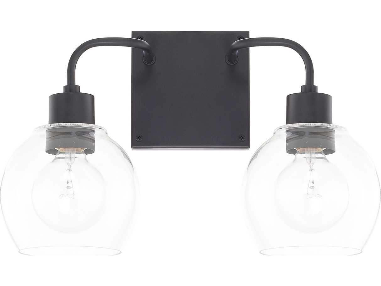 Capital lighting homeplace matte black two light vanity - Black bathroom lighting fixtures ...