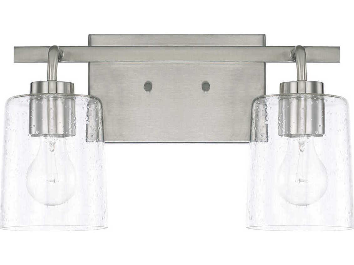 Capital Lighting 4 Light Vanity Fixture Brushed Nickel: Capital Lighting Greyson Brushed Nickel Two-Lights 15