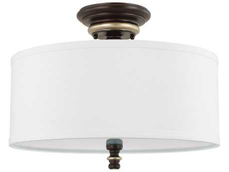 Capital Lighting Asher Champagne Bronze with Frosted Glass Diffuser: 10.625''W Three-Light 15'' Wide Semi Flush Mount Light
