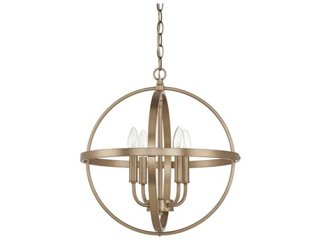 Capital Lighting Homeplace Aged Brass Four-Lights 17'' Wide Mini Chandelier