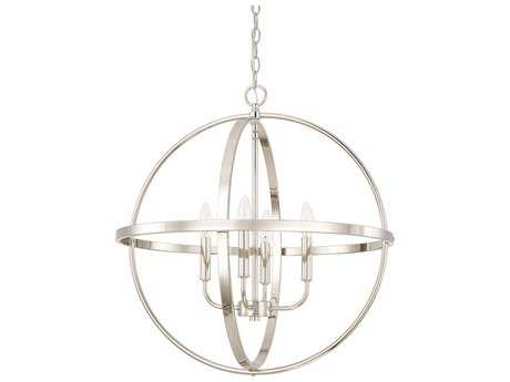 Capital Lighting HomePlace Lighting Polished Nickel Four-Light 25'' Wide Mini Chandelier