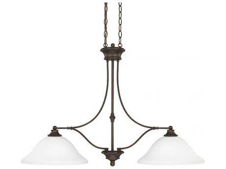 Capital Lighting Belmont Burnished Bronze with Soft White Glass Two-Light 36'' Wide Island Light