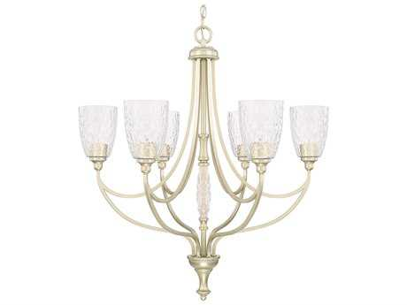 Capital Lighting Seaton Soft Gold with Clear Organic Glass Six-Light 29.5'' Wide Chandelier