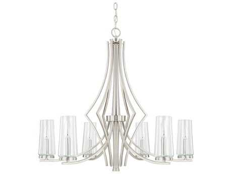 Capital Lighting Stella Brushed Nickel with Clear Glass Six-Light 30'' Wide Chandelier