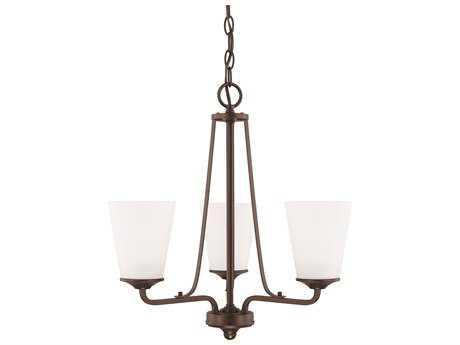 Capital Lighting HomePlace Lighting Braylon Bronze with Soft White Glass Three-Light 18'' Wide Mini Chandelier