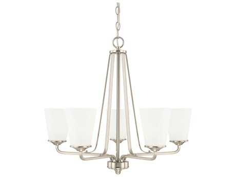 Capital Lighting HomePlace Lighting Braylon Brushed Nickel with Soft White Glass Five-Light 26'' Wide Chandelier
