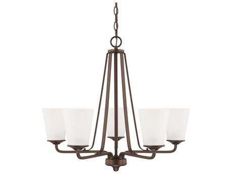 Capital Lighting HomePlace Lighting Braylon Bronze with Soft White Glass Five-Light 26'' Wide Chandelier