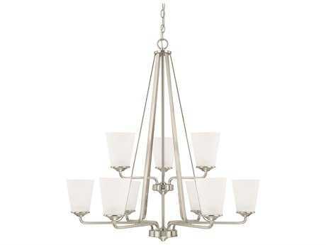 Capital Lighting HomePlace Lighting Braylon Brushed Nickel with Soft White Glass Nine-Light 32'' Wide Chandelier