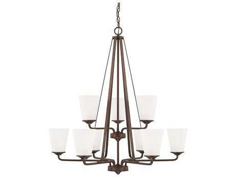 Capital Lighting HomePlace Lighting Braylon Bronze with Soft White Glass Nine-Light 32'' Wide Chandelier