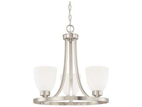 Capital Lighting HomePlace Lighting Jameson Brushed Nickel with Soft White Glass Three-Light 18'' Wide Mini Chandelier