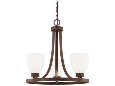 Capital Lighting HomePlace Lighting Jameson Bronze with Soft White Glass Three-Light 18'' Wide Mini Chandelier