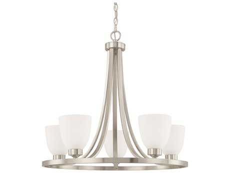 Capital Lighting HomePlace Lighting Jameson Brushed Nickel with Soft White Glass Five-Light 26'' Wide Chandelier
