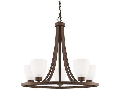 Capital Lighting HomePlace Lighting Jameson Bronze with Soft White Glass Five-Light 26'' Wide Chandelier