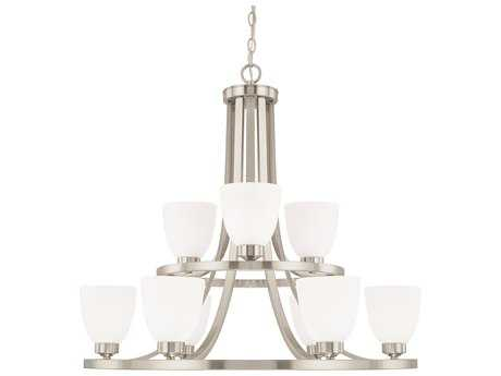 Capital Lighting HomePlace Lighting Jameson Brushed Nickel with Soft White Glass Nine-Light 30'' Wide Chandelier