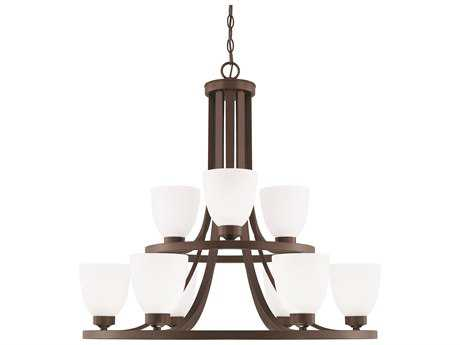 Capital Lighting HomePlace Lighting Jameson Bronze with Soft White Glass Nine-Light 30'' Wide Chandelier