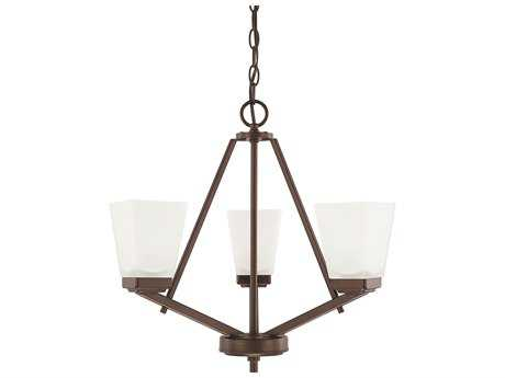 Capital Lighting HomePlace Lighting Baxley Bronze with Soft White Glass Three-Light 20'' Wide Mini Chandelier