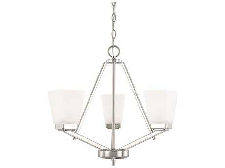Capital Lighting HomePlace Lighting Baxley Polished Nickel with Soft White Glass Three-Light 20'' Wide Mini Chandelier
