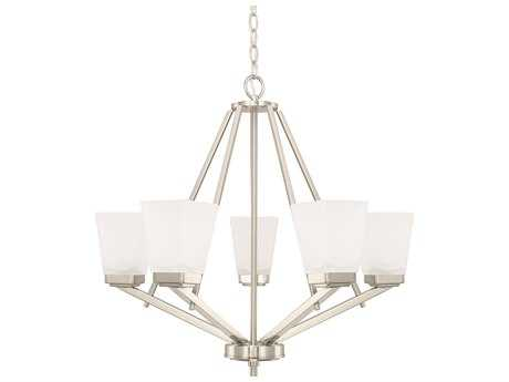 Capital Lighting HomePlace Lighting Baxley Brushed Nickel with Soft White Glass Five-Light 26'' Wide Chandelier
