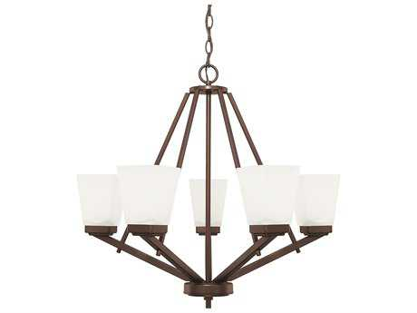 Capital Lighting HomePlace Lighting Baxley Bronze with Soft White Glass Five-Light 26'' Wide Chandelier