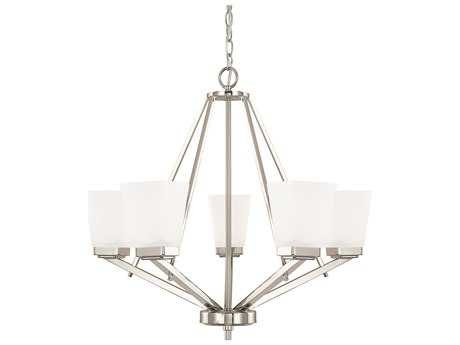 Capital Lighting HomePlace Lighting Baxley Polished Nickel with Soft White Glass Five-Light 26'' Wide Chandelier