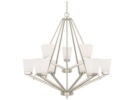 Capital Lighting HomePlace Lighting Baxley Brushed Nickel with Soft White Glass Nine-Light 33.5'' Wide Chandelier