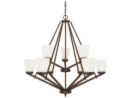 Capital Lighting HomePlace Lighting Baxley Bronze with Soft White Glass Nine-Light 33.5'' Wide Chandelier