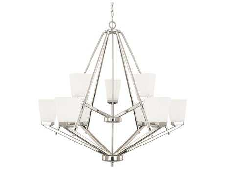 Capital Lighting HomePlace Lighting Baxley Polished Nickel with Soft White Glass Nine-Light 33.5'' Wide Chandelier