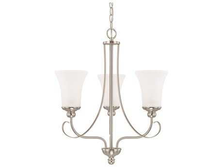 Capital Lighting HomePlace Lighting Griffin Brushed Nickel with Soft White Glass Three-Light 20.5'' Wide Mini Chandelier
