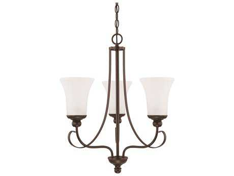 Capital Lighting HomePlace Lighting Griffin Bronze with Soft White Glass Three-Light 20.5'' Wide Mini Chandelier