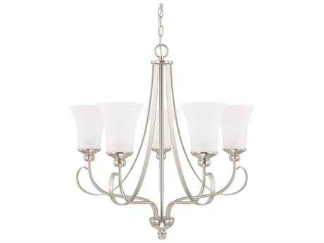 Capital Lighting HomePlace Lighting Griffin Brushed Nickel with Soft White Glass Five-Light 26'' Wide Chandelier