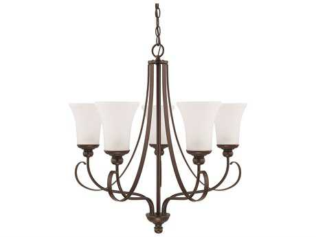Capital Lighting HomePlace Lighting Griffin Bronze with Soft White Glass Five-Light 26'' Wide Chandelier
