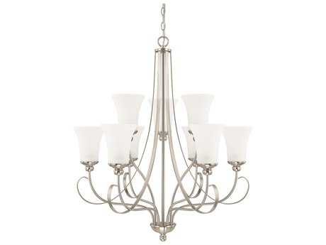 Capital Lighting HomePlace Lighting Griffin Brushed Nickel with Soft White Glass Nine-Light 30.5'' Wide Chandelier
