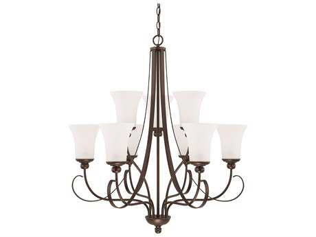 Capital Lighting HomePlace Lighting Griffin Bronze with Soft White Glass Nine-Light 30.5'' Wide Chandelier