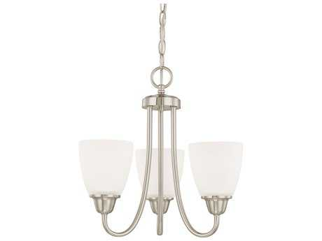 Capital Lighting HomePlace Lighting Trenton Brushed Nickel with Acid Washed Glass Three-Light 15'' Wide Mini Chandelier