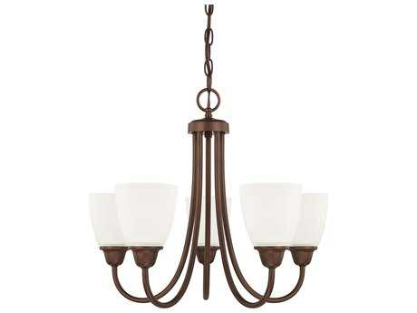 Capital Lighting HomePlace Lighting Trenton Bronze with Acid Washed Glass Five-Light 21'' Wide Mini Chandelier