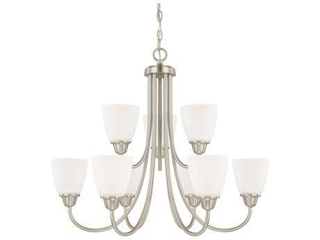 Capital Lighting HomePlace Lighting Trenton Brushed Nickel with Acid Washed Glass Nine-Light 27.5'' Wide Chandelier