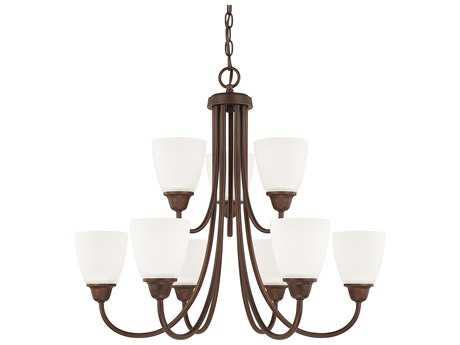 Capital Lighting HomePlace Lighting Trenton Bronze with Acid Washed Glass Nine-Light 27.5'' Wide Chandelier