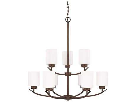 Capital Lighting HomePlace Lighting Dixon Bronze with Soft White Glass Nine-Light 28'' Wide Chandelier