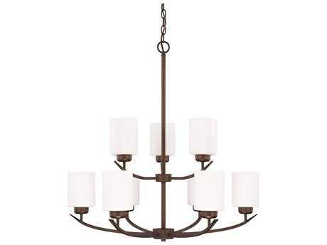 Capital Lighting HomePlace Lighting Dixon Bronze with Soft White Glass Nine-Light 28'' Wide Chandelier
