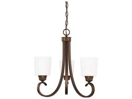 Capital Lighting HomePlace Lighting Hayden Bronze with Soft White Glass Three-Light 21'' Wide Mini Chandelier