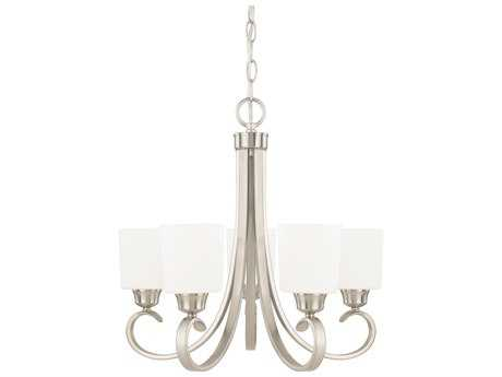 Capital Lighting HomePlace Lighting Hayden Brushed Nickel with Soft White Glass Five-Light 24'' Wide Chandelier