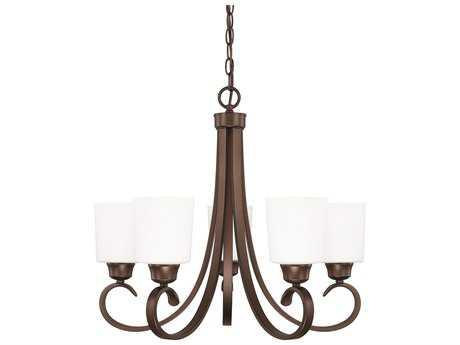Capital Lighting HomePlace Lighting Hayden Bronze with Soft White Glass Five-Light 24'' Wide Chandelier