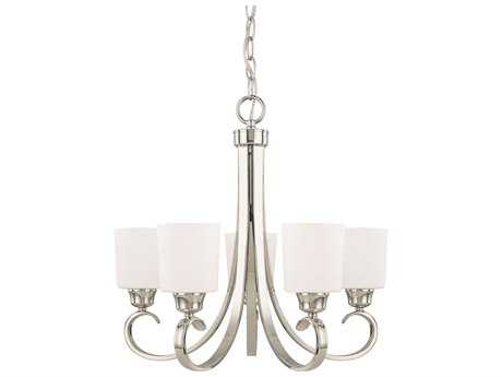 Capital Lighting HomePlace Lighting Hayden Polished Nickel with Soft White Glass Five-Light 24'' Wide Chandelier