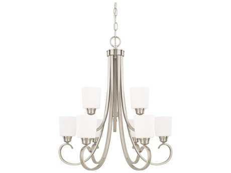 Capital Lighting HomePlace Lighting Hayden Brushed Nickel with Soft White Glass Nine-Light 29'' Wide Chandelier