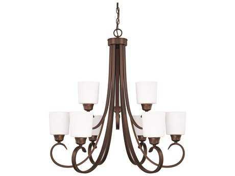Capital Lighting HomePlace Lighting Hayden Bronze with Soft White Glass Nine-Light 29'' Wide Chandelier