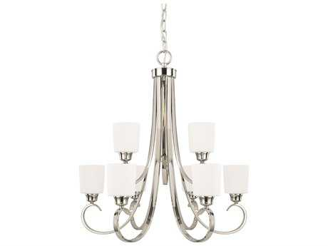 Capital Lighting HomePlace Lighting Hayden Polished Nickel with Soft White Glass Nine-Light 29'' Wide Chandelier