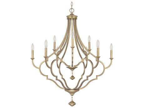 Capital Lighting Quinn Brushed Gold Nine-Light 34'' Wide Chandelier