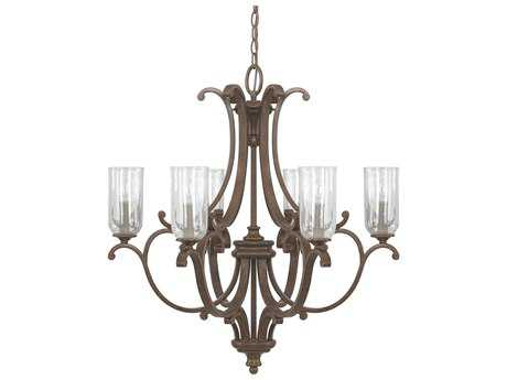 Capital Lighting Harrison Mottled Brown Six-Light 26.5'' Wide Chandelier