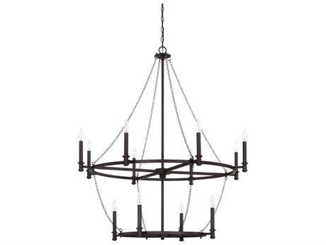 Capital Lighting Lancaster Black Iron 12-Lights 41'' Wide Chandelier