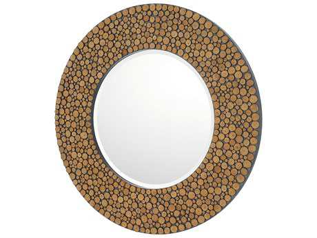 Capital Lighting Natural Wood 36'' Wide Round Wall Mirror